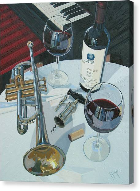 Wine Art Canvas Print - A Measure Of Opus by Christopher Mize