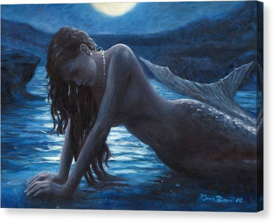 Lady Canvas Print - A Mermaid In The Moonlight - Love Is Mystery by Marco Busoni