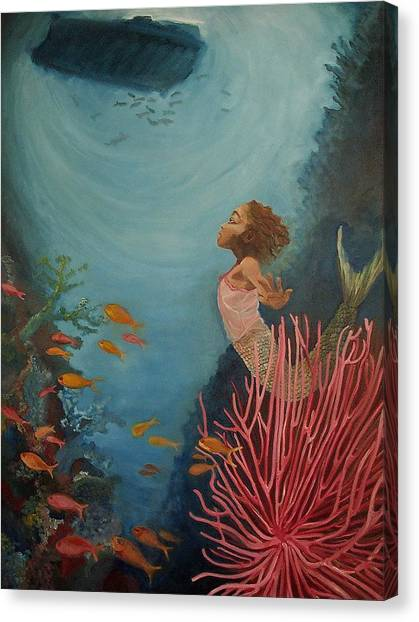 Ocean Life Canvas Print - A Mermaid's Journey by Amira Najah Whitfield