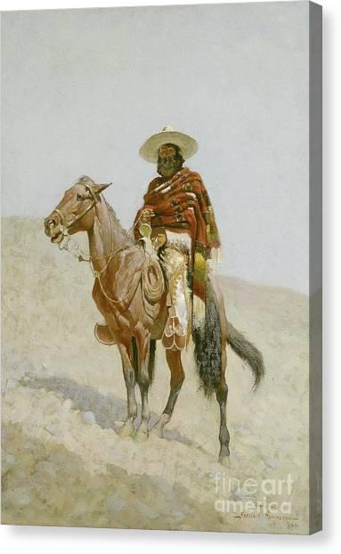 Horseback Riding Canvas Print - A Mexican Vaquero by Frederic Remington