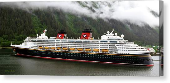Cruise Ships Canvas Print - A Mickey Mouse Cruise Ship by Barbara Snyder