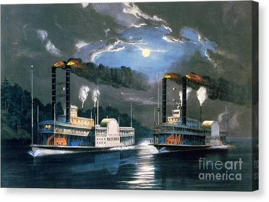 Pollution Canvas Print - A Midnight Race On The Mississippi by Currier and Ives
