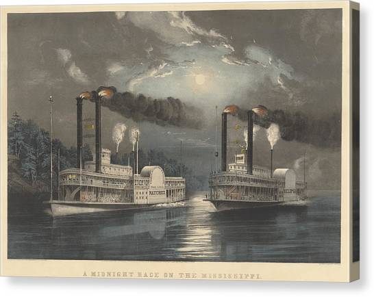 Canvas Print - A Midnight Race On The Mississippi by Frances Flora Bond Palmer