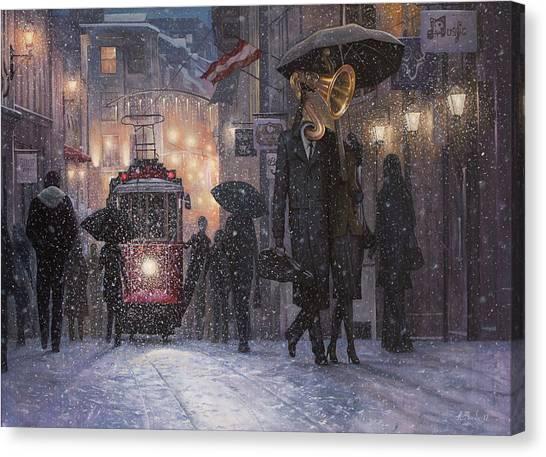 Old Train Canvas Print - A Midwinter Night's Dream by Adrian Borda