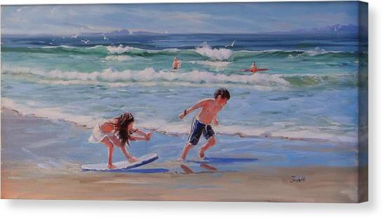 Children On Beach Canvas Print - A Moment In Time by Laura Lee Zanghetti