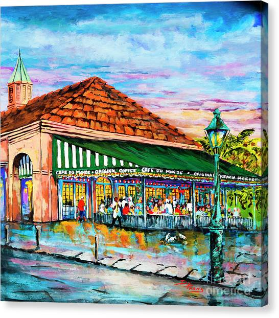 Coffee Shops Canvas Print - A Morning At Cafe Du Monde by Dianne Parks