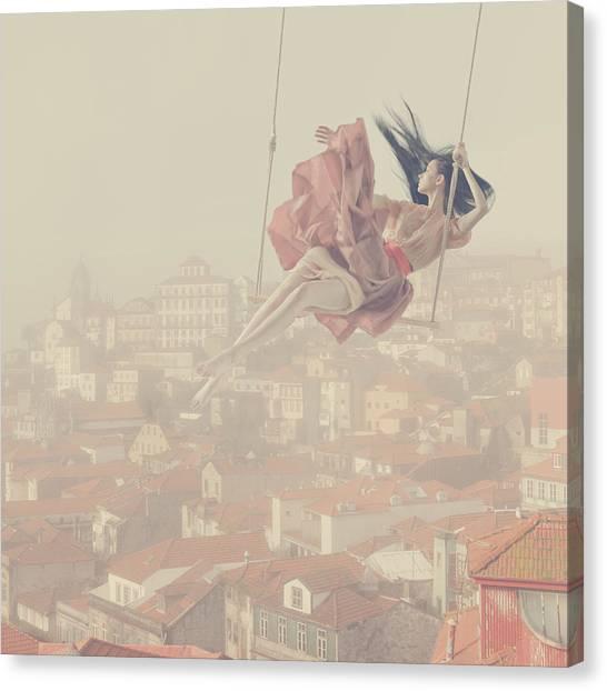 Swing Canvas Print - a morning over Oporto by Anka Zhuravleva