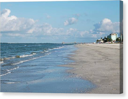 A Morning Walk On Fort Myers Beach Fort Myers Florida Canvas Print