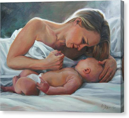 A Mother's Adoration Canvas Print