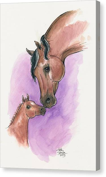 University Of Connecticut Canvas Print - A Mother's Love, Uc Lyric And Her Foal, Uc Ringmaster by Helen Scanlon