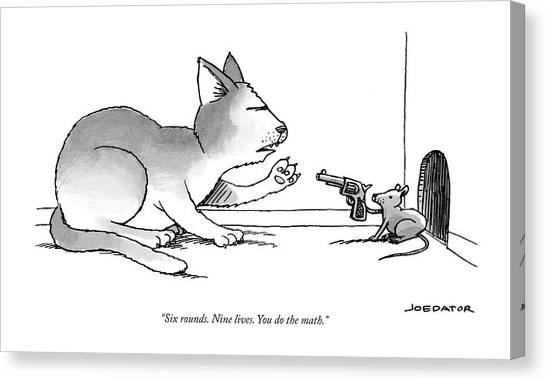 2013 Canvas Print - A Mouse Is In Front Of A Mouse Hole Pointing by Joe Dator