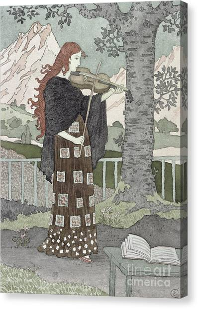 Violin Canvas Print - A Musician by Eugene Grasset