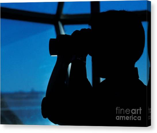 Air Traffic Control Canvas Print - A Navy Air Traffic Controller Maintains by Michael Wood