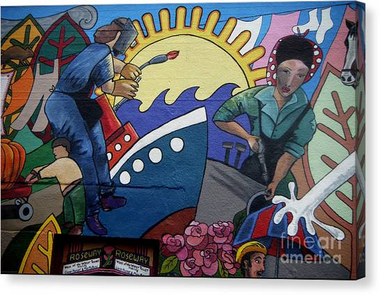 A Neigborhood In Motion Mural  Rosie The Riviter And Wendy The Welder Canvas Print by Angelina Marino