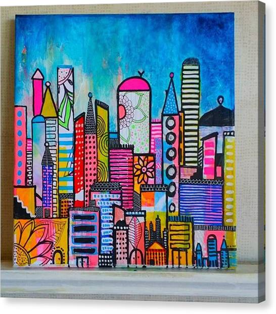 Canvas Print - A New 12 X12 #cityscape #collage by Robin Mead