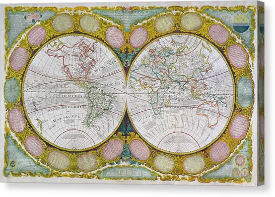 Celestial Globe Canvas Print - A New And Correct Map Of The World by Robert Wilkinson