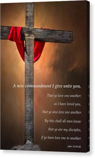 Bible Verses Canvas Print - A New Commandment  by David and Carol Kelly