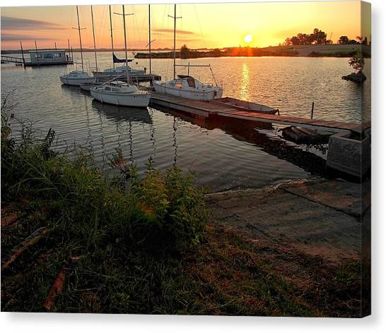 Oklahoma State University Canvas Print - A New Day At The Dock by Buck Buchanan
