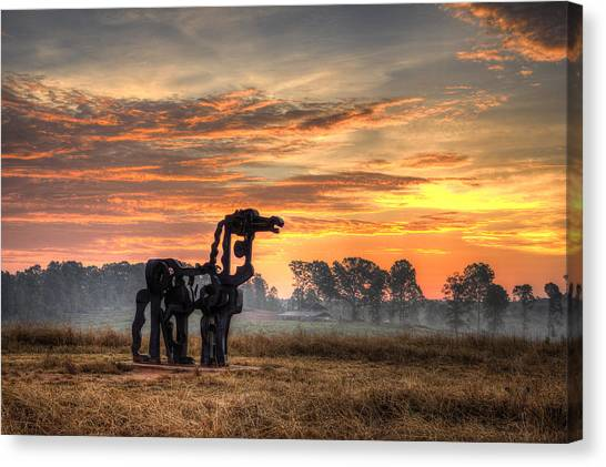 University Of Georgia Canvas Print - A New Day The Iron Horse by Reid Callaway