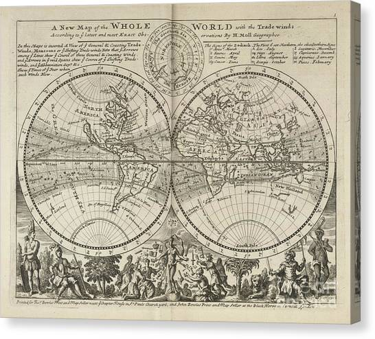 A New Map Of The Whole World With Trade Winds Herman Moll 1732 Canvas Print