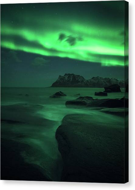 Aurora Borealis Canvas Print - A Night At Uttakleiv by Tor-Ivar Naess