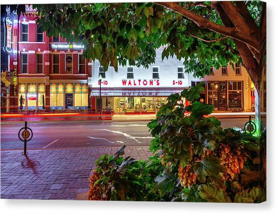 A Night On The Bentonville Arkansas Square Canvas Print