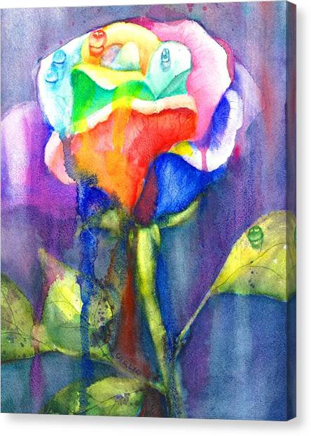 Wet Rose Canvas Print - A Painted Rose In The Rain by Carlin Blahnik CarlinArtWatercolor