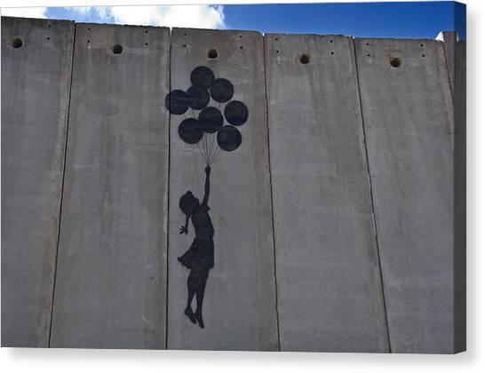 Palestinian Canvas Print - A Painting On The Israeli Separartion by Keenpress
