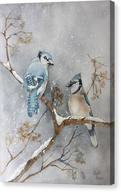 A Pair Of Jays Canvas Print by Bobbi Price