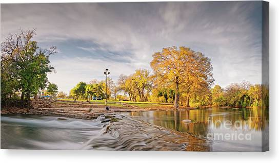 Sun Belt Canvas Print - A Peaceful Fall Afternoon At Rio Vista Dam Park - San Marcos Hays County Texas Hill Country by Silvio Ligutti