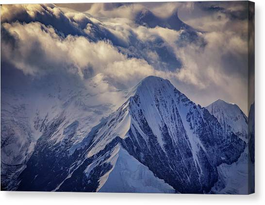 Denali Canvas Print - A Peak In The Clouds by Rick Berk