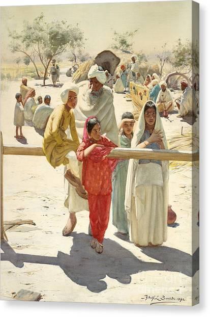 Sikh Canvas Print - A Peep At The Train, India, 1892 by Rudolf Swoboda