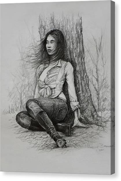 Long Hair Canvas Print - A Pensive Mood by Harvie Brown