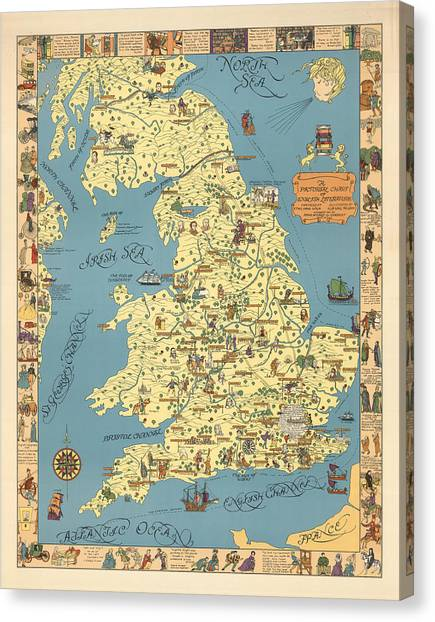 Pictorial maps canvas prints fine art america pictorial maps canvas print a pictorial chart of english literature illustrated map pictorial gumiabroncs Image collections