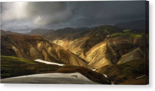 Mountain Valley Canvas Print - A Piece Of Laugavegur by Tor-Ivar Naess