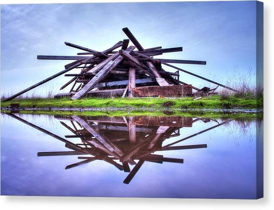 Canvas Print featuring the photograph A Pile Of Wood by Quality HDR Photography