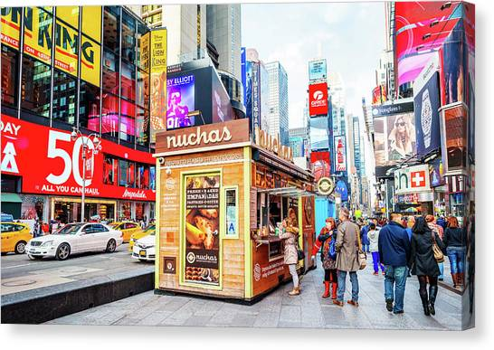 A Portable Food Stand In New York Times Square Canvas Print