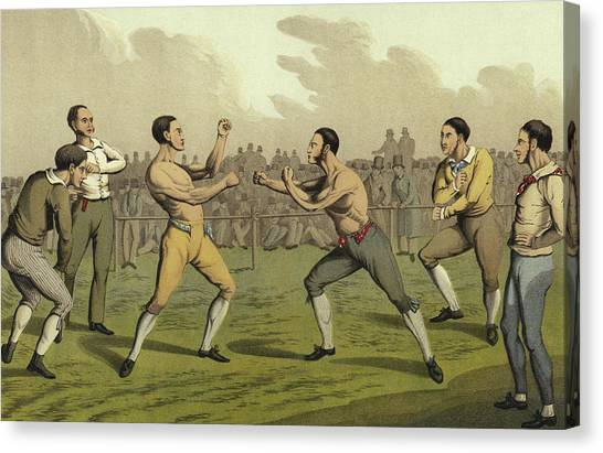 Mma Canvas Print - A Prize Fight by Henry Thomas Alken