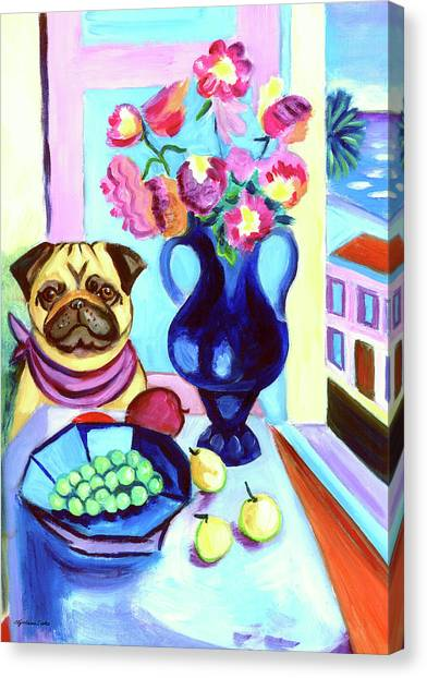 Pugs Canvas Print - A Pug's Dinner At Henri's - Pug by Lyn Cook