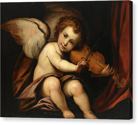 Procaccini Canvas Print - A Putto Playing The Violin by Manner of Giulio Cesare Procaccini
