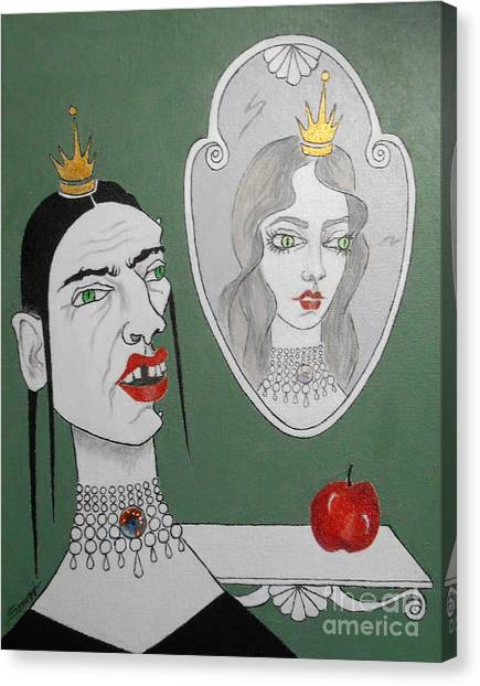 A Queen, Her Mirror And An Apple Canvas Print