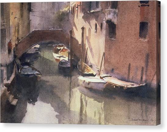 Murky Canvas Print - A Quiet Canal In Venice by Trevor Chamberlain