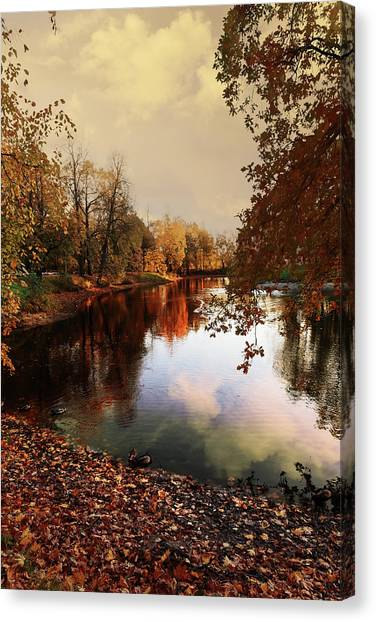 a quiet evening in a city Park painted in bright colors of autumn Canvas Print