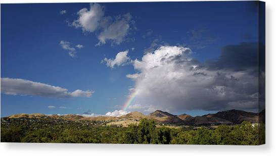 University Of Utah Canvas Print - A Rainbow In Salt Lake City by Rona Black
