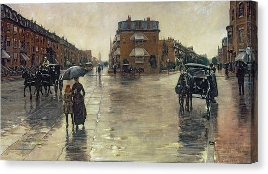 Carts Canvas Print - A Rainy Day In Boston by Childe Hassam