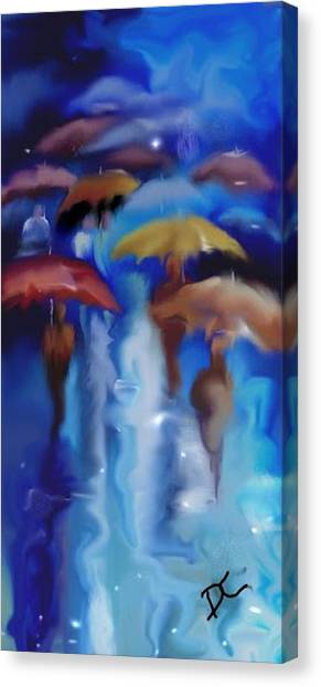 Canvas Print featuring the digital art A Rainy Day In Paris by Darren Cannell