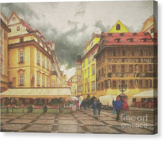 A Rainy Day In Prague Canvas Print