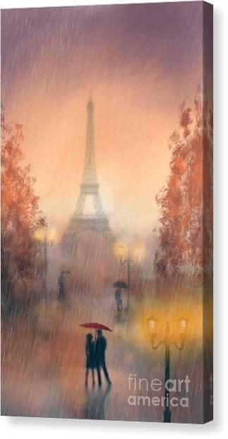 Paris Night Canvas Print - A Rainy Evening In Paris by John Edwards