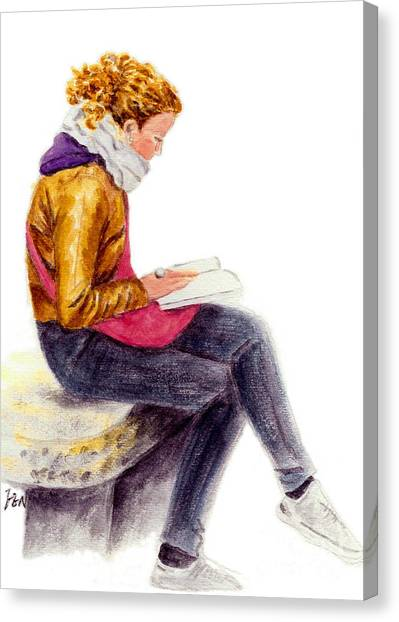 A Reading Girl In Milan Canvas Print