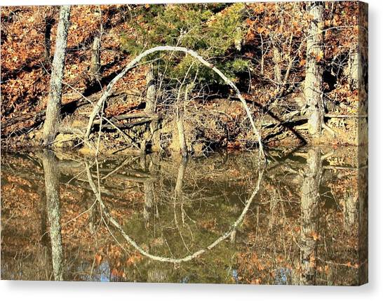 A Ring On The Pond In Fall Canvas Print